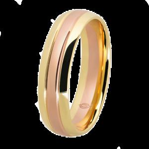 Obrączka dwukolorowa (złoto żółte i czerwone)