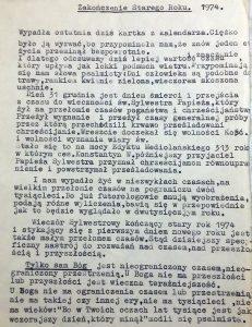 Kazanie ks. Stanisława Kołtaka na zakończenie roku 1974